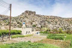 清真寺和农业在Saiq高原 库存照片