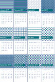 清真寺和决议蓝色上色了几何样式日历2016年 免版税库存图片