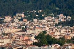 清真寺和许多房子在伯萨 免版税库存图片