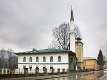清真寺和钟楼在特拉夫尼克 达成协议波斯尼亚夹子色的greyed黑塞哥维那包括专业的区区映射路径替补被遮蔽的状态周围的领土对都市植被 库存图片