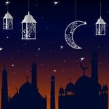 清真寺在斋月前面 在与星的日落 并且月亮 库存图片