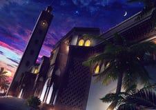 清真寺在晚上 免版税库存照片