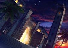 清真寺外部在晚上 免版税库存图片