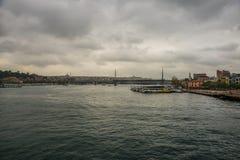 清真寺的桥梁的看法多云天气的 伊斯坦布尔海滨人行道风景  游人伊斯坦布尔市风景 伊斯坦布尔 库存图片