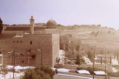 清真寺Al Aqsa和老市的看法耶路撒冷和Ancien 免版税库存照片