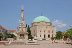 清真寺Qazim和方尖碑在佩奇匈牙利 免版税库存图片