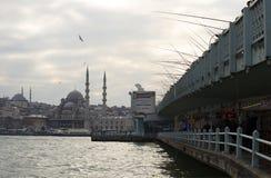清真寺Yeni Cami和加拉塔跨接多云12月早晨 伊斯坦布尔 库存图片