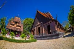 清莱,泰国- 2018年2月01日:未认出的人民输入Baan水坝博物馆黑色议院,一  库存图片