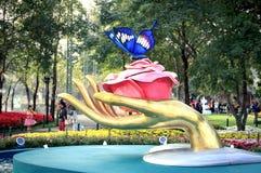 清莱,泰国- 12月23 :在盛大开幕式第12个清莱花节日的郁金香领域&音乐在公园11月2015 23日, 库存照片