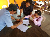 清莱,泰国- 12月19 :未认出的亚洲老woma 图库摄影