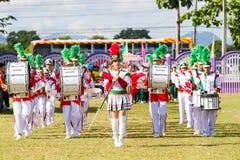 清莱,泰国- 9月19 :未认出的游行乐队 免版税库存图片