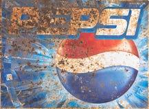 清莱,泰国- 5月12 :老铁锈情况葡萄酒墙壁o 库存照片