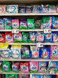 清莱,泰国- 11月26 :洗涤剂各种各样的品牌我 免版税图库摄影
