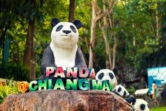 清迈夜有受欢迎的旅游胜地的大熊猫的一徒步旅行队动物园在泰国 图库摄影