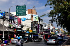 清迈,泰国: 商业城市街道 免版税图库摄影