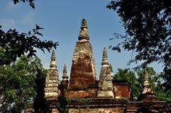 清迈,泰国: 在Wat Ched Yod的七尖顶Chedi 库存照片