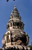 清迈,泰国:Wat Ku陶球状Chedi 免版税库存图片