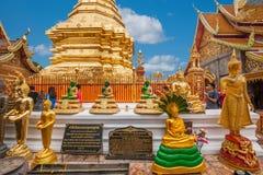 清迈,泰国素贴土井素贴佛教stupa边 库存照片