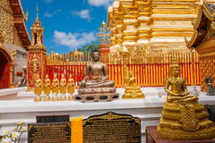 清迈,泰国素贴土井素贴佛教stupa边 免版税库存图片