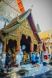 清迈,泰国- 2017年5月3日:游人崇拜和 免版税库存图片