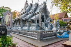 清迈,泰国- 2017年3月5日:美丽的寺庙Wat Sri素攀武里 第一个寺庙在builded教堂fr的世界上 免版税库存图片