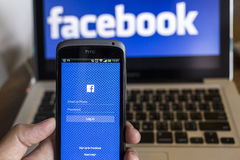 清迈,泰国- 2014年10月21日:Facebook应用si 库存图片