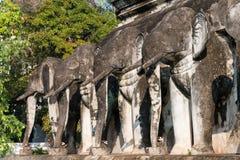 清迈,泰国 - 2015年2月17日:在Wat池氏的大象雕象 免版税库存照片