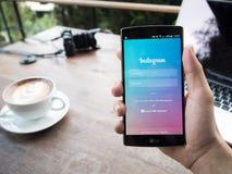 清迈,泰国- 2016年5月05日:屏幕快照Instagram appli 免版税库存图片