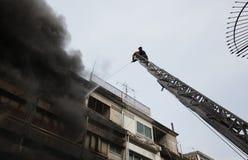 清迈,泰国6月05日:火在织品商店-着火我 免版税库存照片