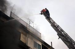 清迈,泰国6月05日:火在织品商店-着火我 库存照片