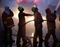 清迈,泰国6月05日:火在织品商店-着火我 图库摄影