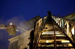 清迈,泰国6月05日:火在织品商店-着火我 免版税图库摄影