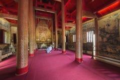 清迈,泰国- 2017年6月12日:Wat Phra辛哈,清迈,泰国内部  图库摄影