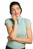 清除妇女年轻人的美丽的泪花 免版税库存图片