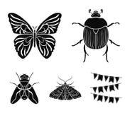 清障车,寄生生物,自然,蝴蝶 昆虫设置了在黑样式传染媒介标志股票例证网的汇集象 库存照片