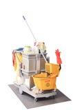 清洁卫生间成套工具白色孤立 库存图片