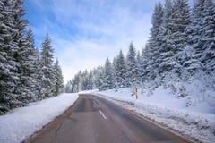 清洗在山与轮和曲线的冬天路与树联合国 免版税图库摄影