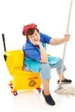 清洁女工被用完 免版税库存照片