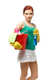 年轻清洁女仆 免版税图库摄影