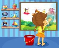 清洗她的窗玻璃的女孩 库存例证