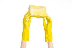 清洗房子和卫生题目:在演播室递拿着一块黄色海绵湿与在白色背景隔绝的泡沫 库存照片