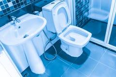 清洗洗手间蓝色颜色口气新的干净的卫生学 免版税库存图片