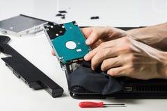 清洁有布料的计算机硬件 免版税库存照片