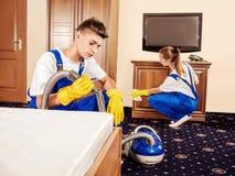 清洁服务用在工作期间的专业设备 图库摄影