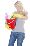 清洁概念女孩纵向白色 免版税图库摄影