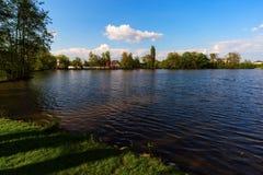 清洗池塘与大海和树 免版税图库摄影