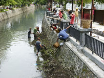 清洗河 库存照片