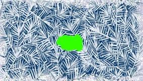 清洁(熔化)结冰的窗口的动画与后边绿色屏幕的 皇族释放例证