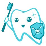 清洁牙齿平的逗人喜爱的牙的字符,掠过,漂洗,龋保护传染媒介例证集合 牙齿医疗保健 库存图片