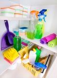 清洁物品在餐具室 免版税库存照片